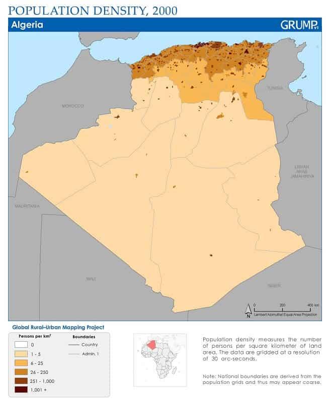 Demographic Map of Algeria