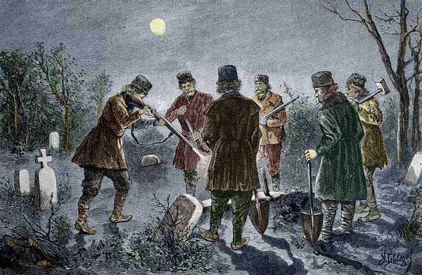 A Group of Men Shooting a Vampire in its Grave