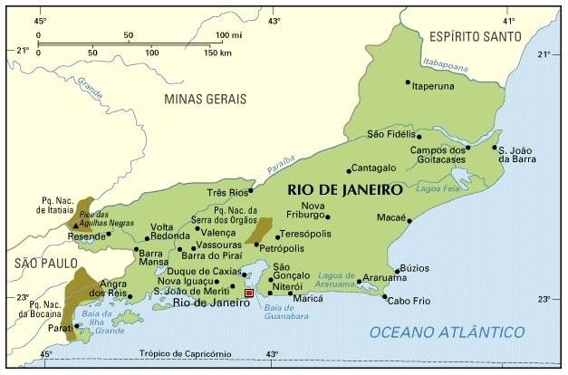 Map of Rio de Janeiro Brazil