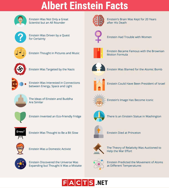 albert einstein facts infographics