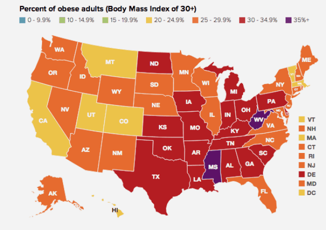 Percent of Obese Adults by State