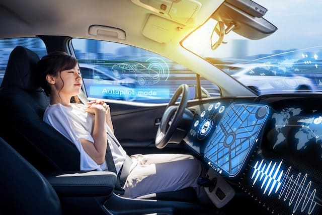 Young Woman Riding Autonomous Car
