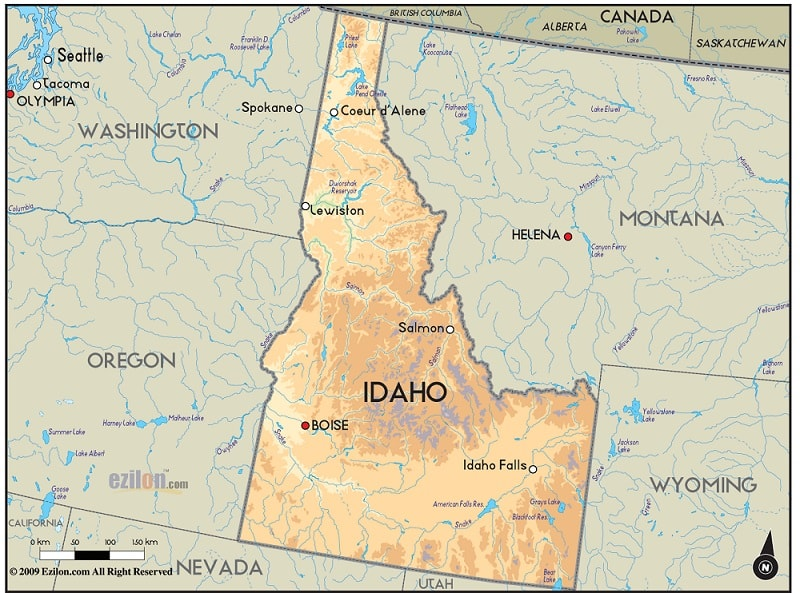 Geographical Map of Idaho