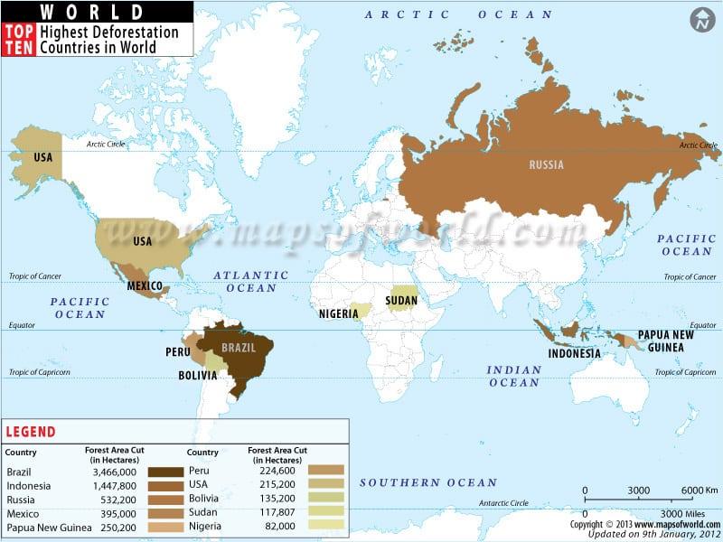 Highest Deforestation Countries in World