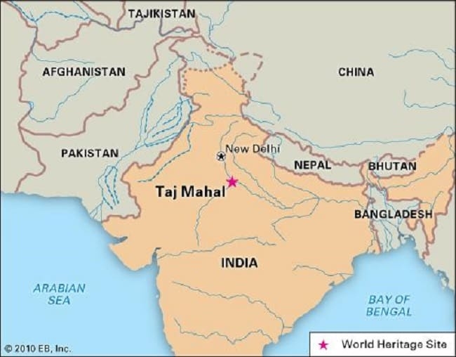 Taj Mahal Location Map