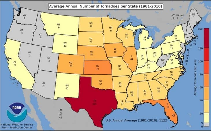 Tornado Frequency by State Map