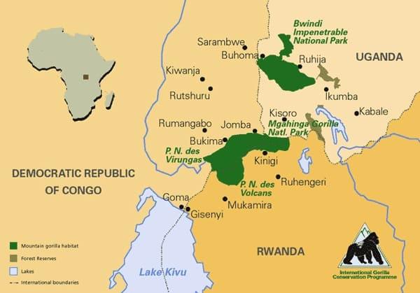 Mountain Gorillas Range Map