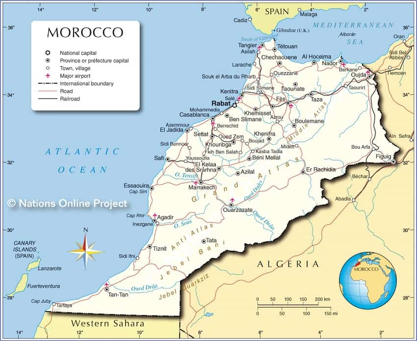 Political Map of Morocco