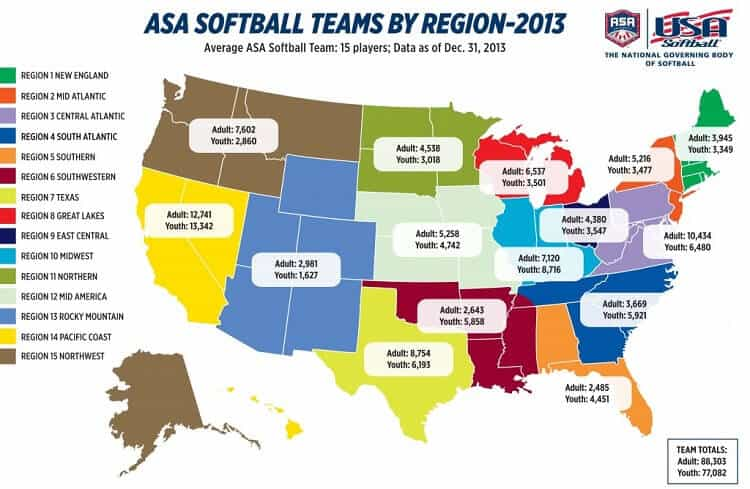 ASA Softball Teams by Region