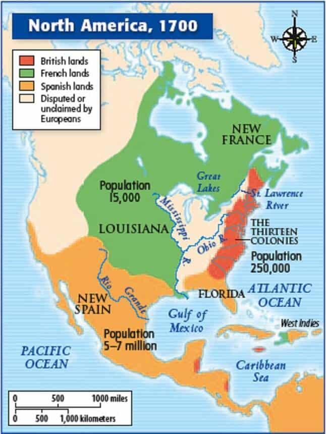 North America Colony Map in 1700