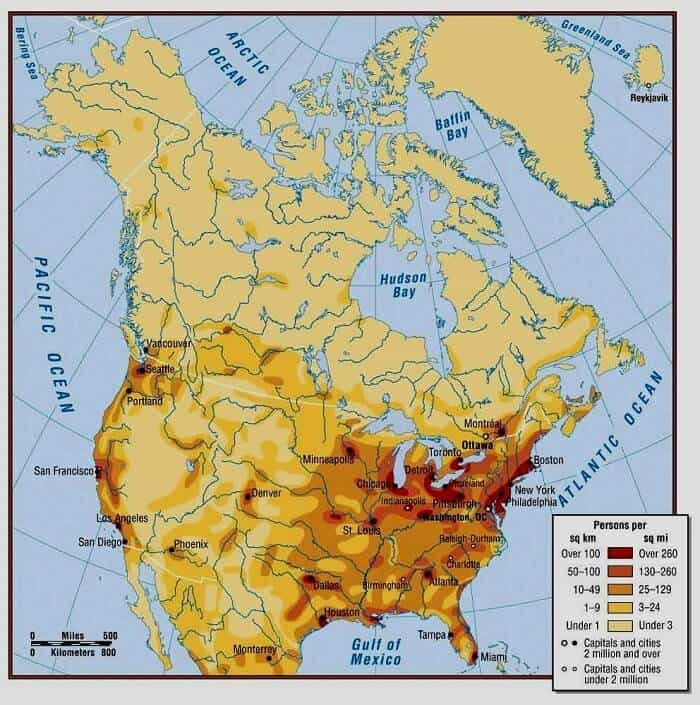 North America Population Density