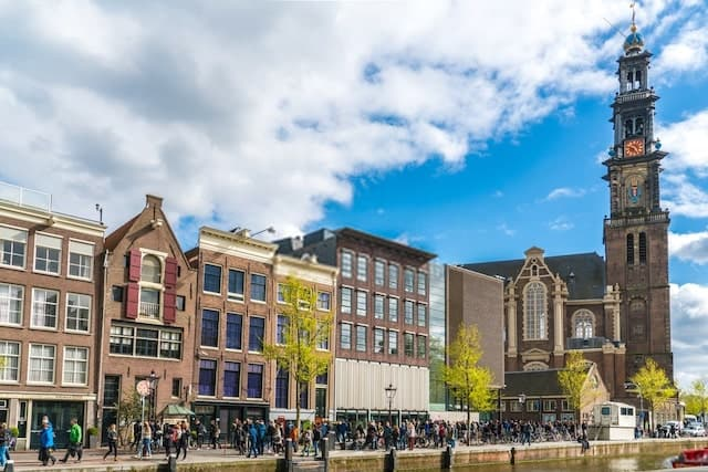 Tourists Waiting in Line to Get into the Anne Frank House