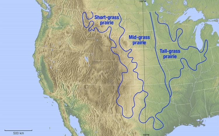 Map of the Prairie in US