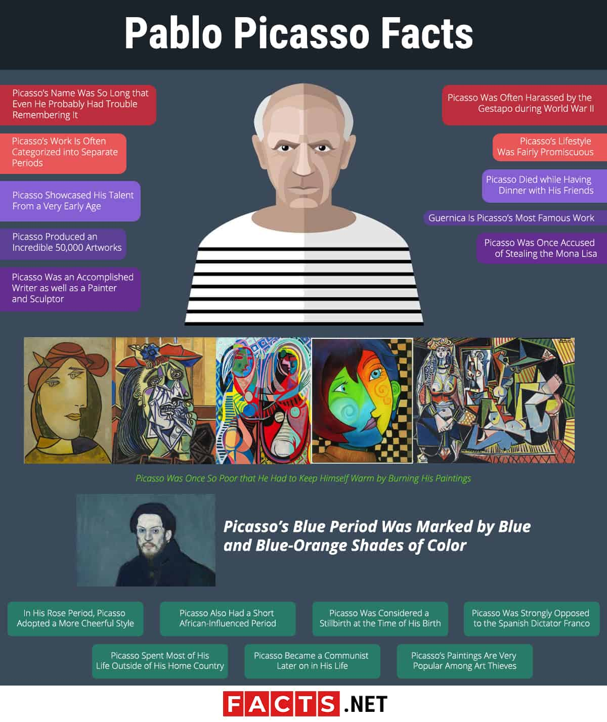 Pablo Picasso Facts Infographics