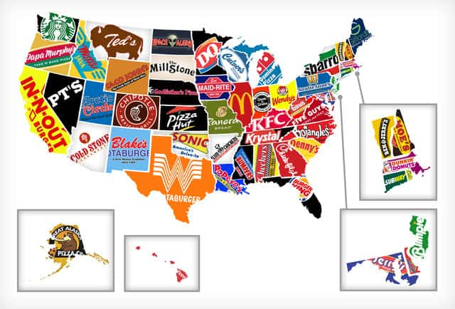Fast Food Restaurants map in US