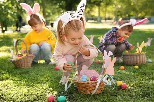 Children Checking their Easter Basket