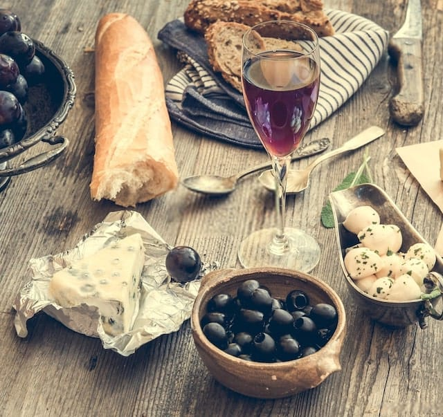Wine Cheese and Baguette