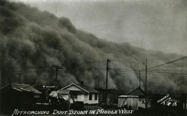 Dust Storm Approaching a Town