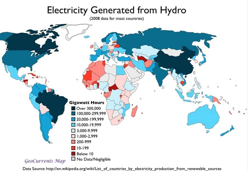 Electricity from Hydro Map