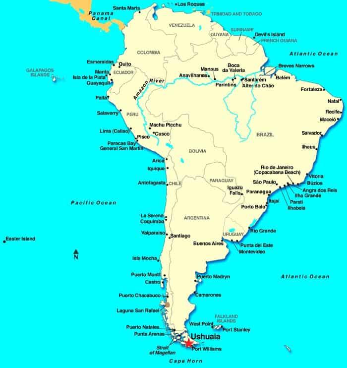 Location of Ushuaia, Argentina