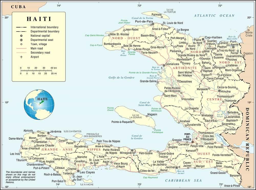Map of the Republic of Haiti