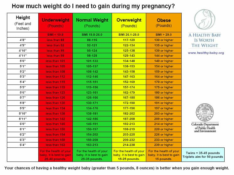 Pregnancy Weight Gain Chart