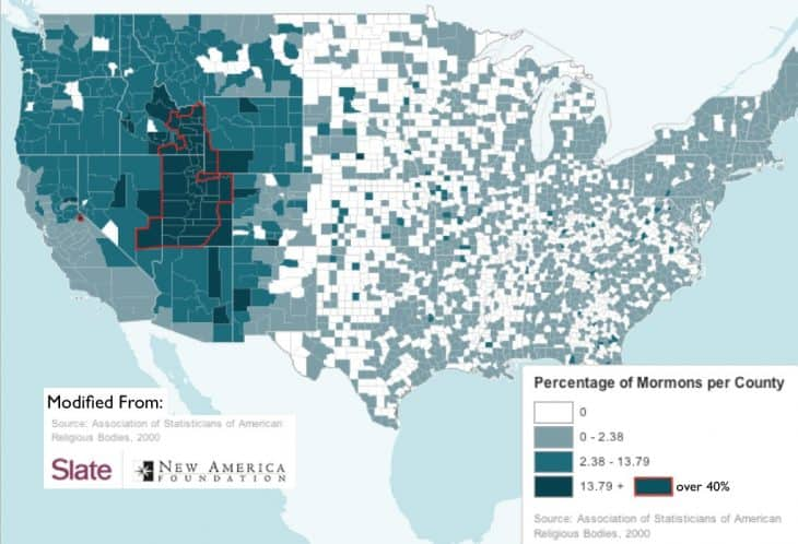 Map of Mormons in US