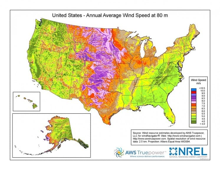 US Wind Speed Map