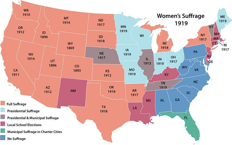 Womens Suffrage By State in 1919