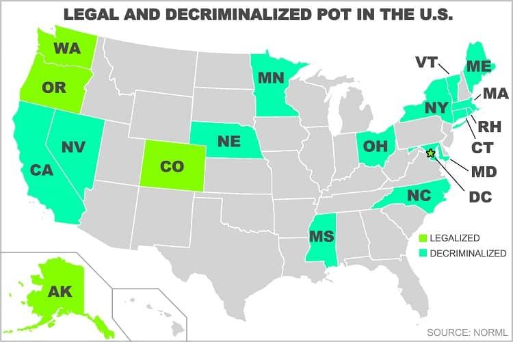 Legalized or Decriminalized Marijuana in States