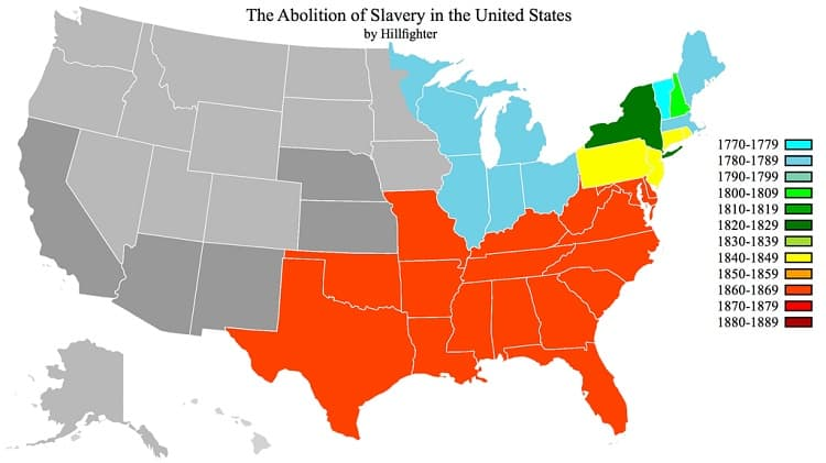 Abolition of Slavery Map