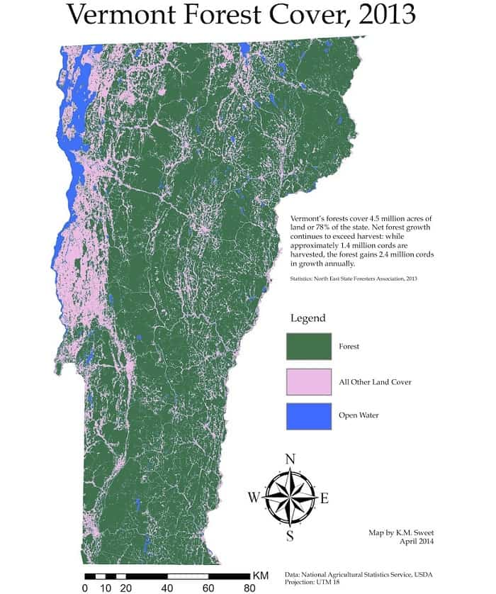 Vermont Forest Cover in 2013