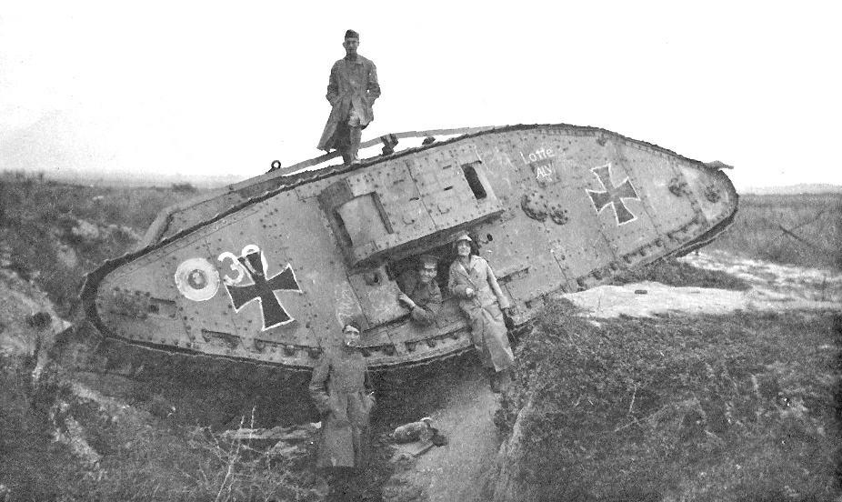 captured tank in WW1 battlefield