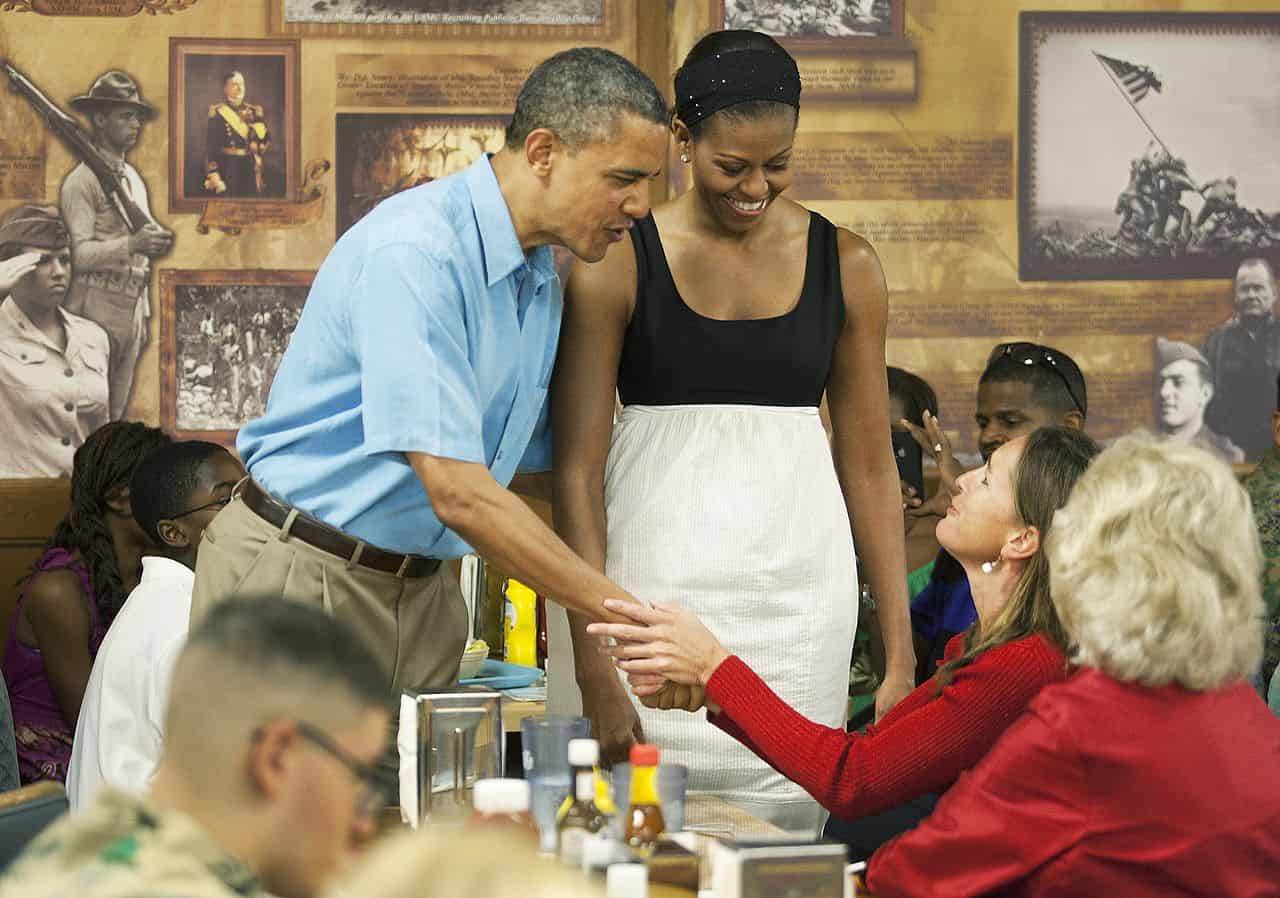 the obama couple in a family gathering