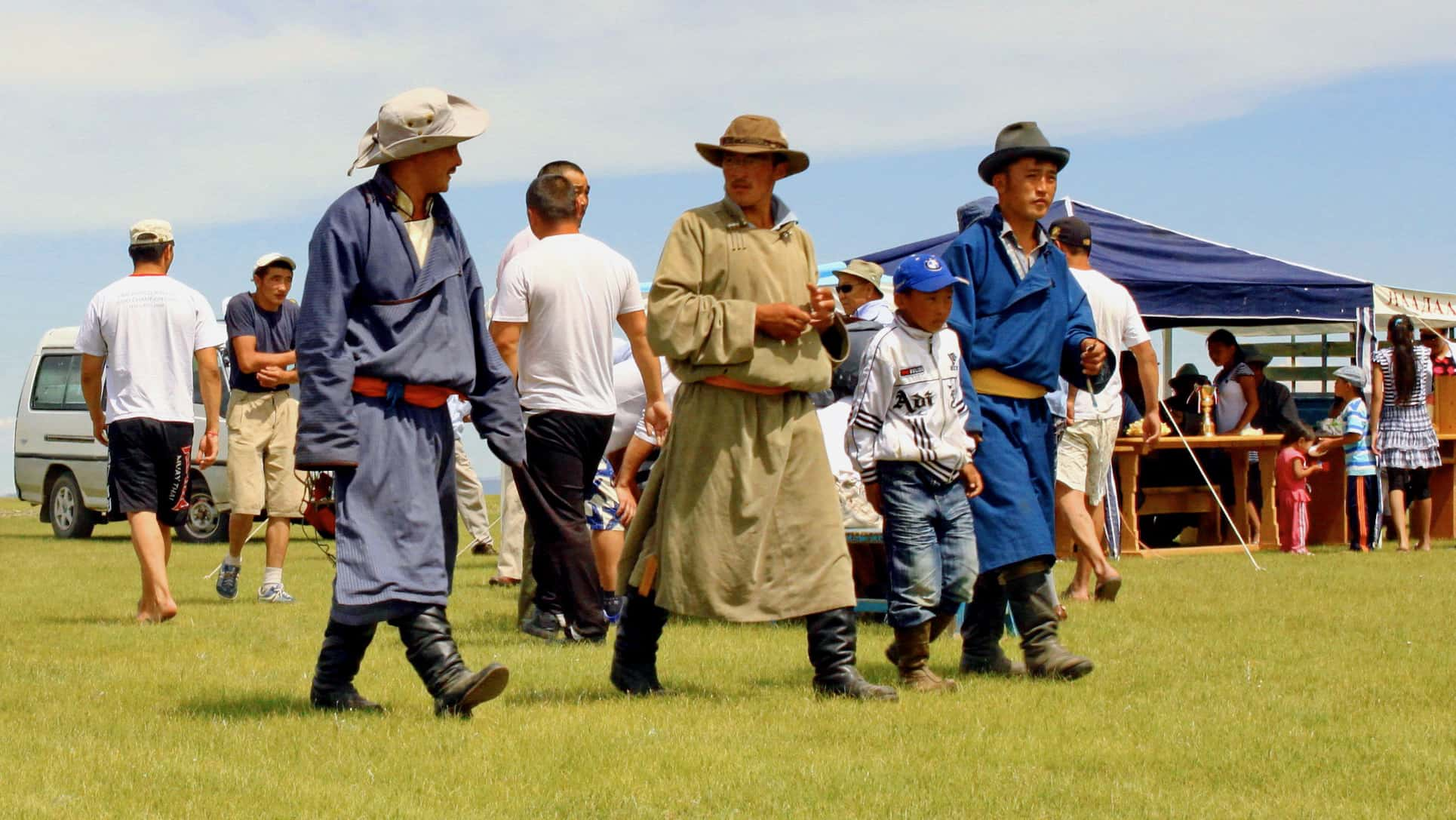 Mongolians wearing deel.