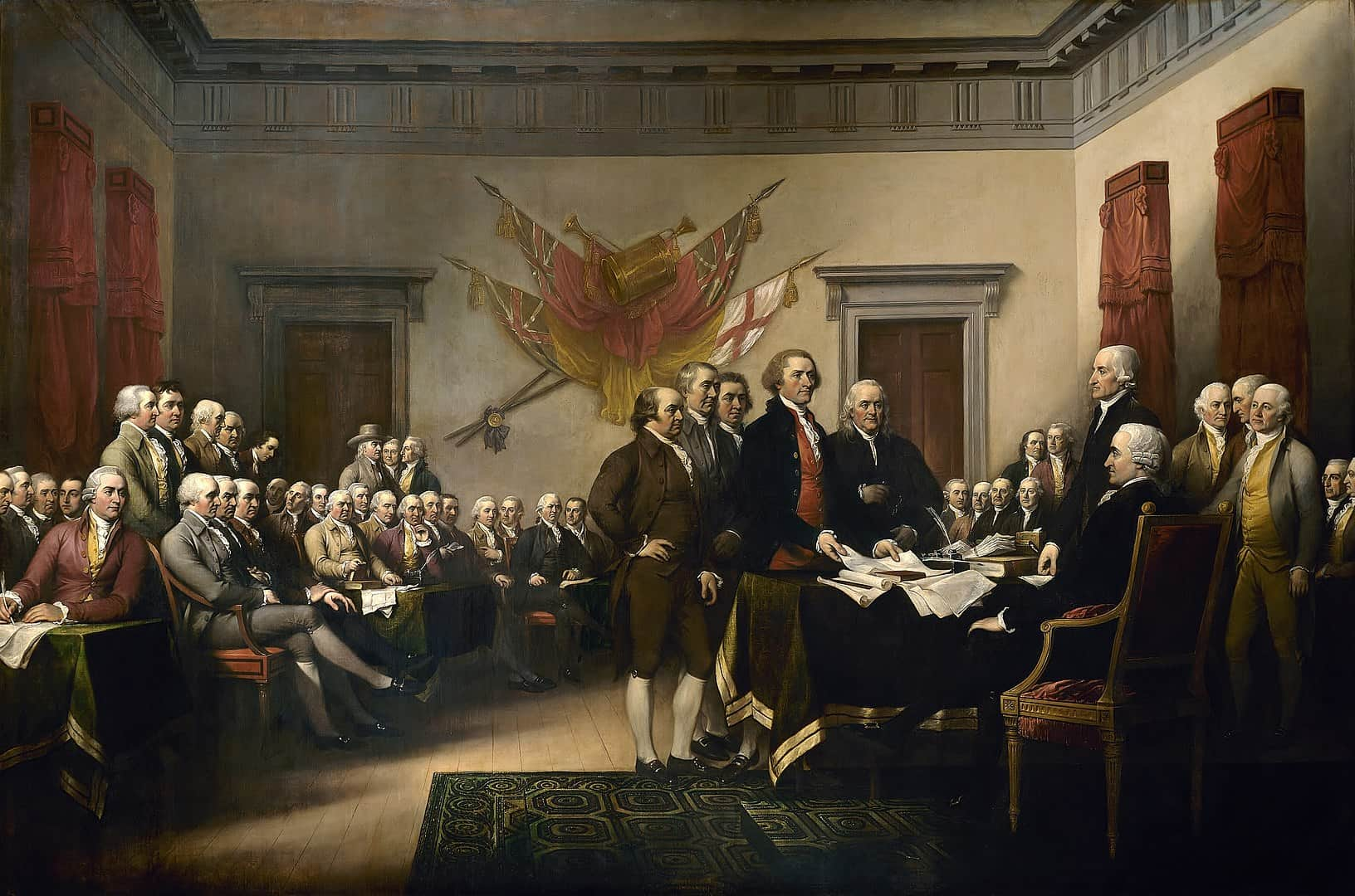 John Trumbull's portrait of the signing of the Declaration of Independence, revolutionary war facts, historical events facts