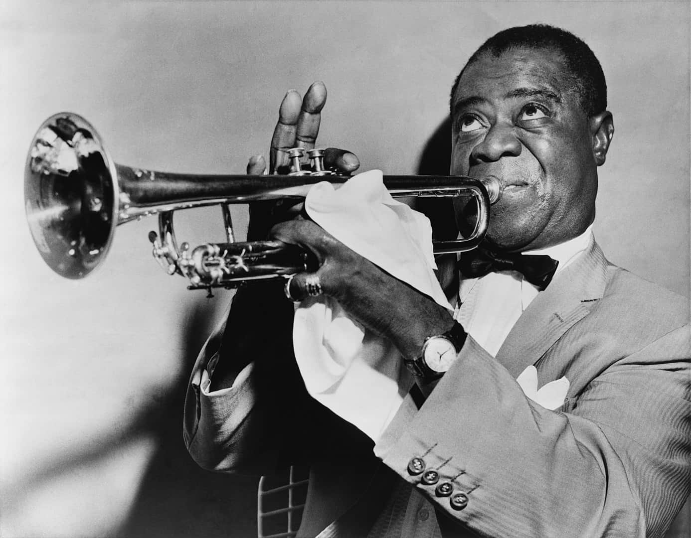Jazz artist Louis Armstrong in 1953, music facts