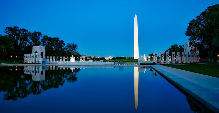 The Washington Monument in the twilight.