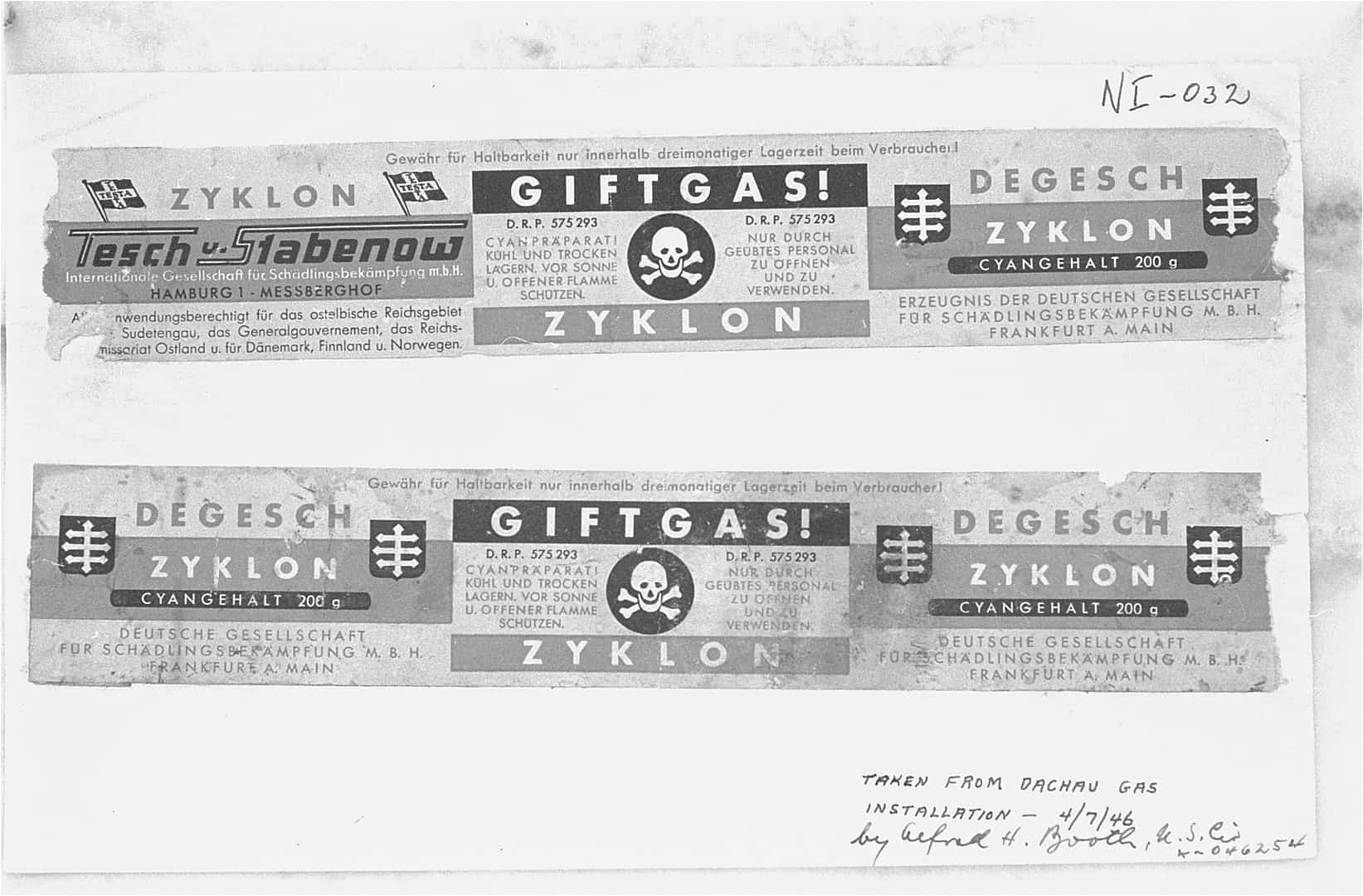 Labels from Zyklon-B canisters used during the Holocaust, holocaust facts, historical events facts