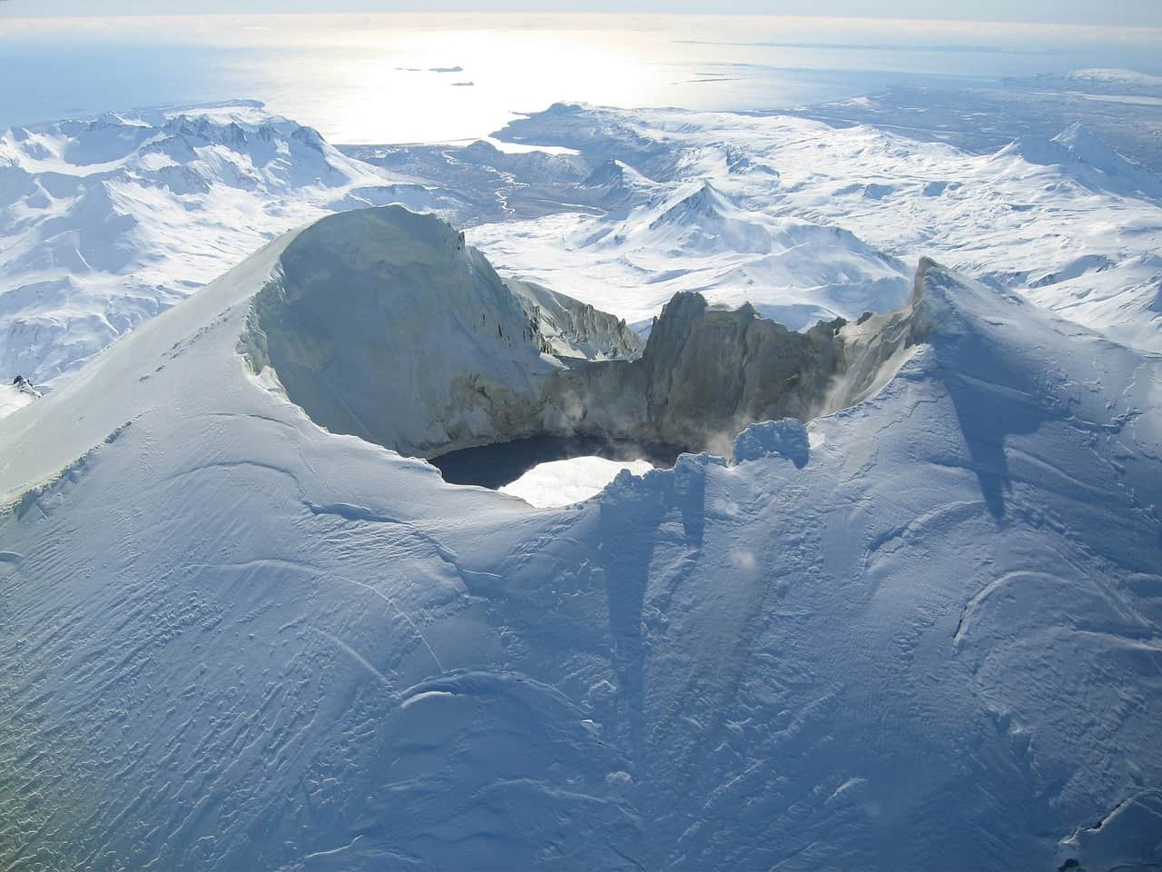volcano, snow, alaska