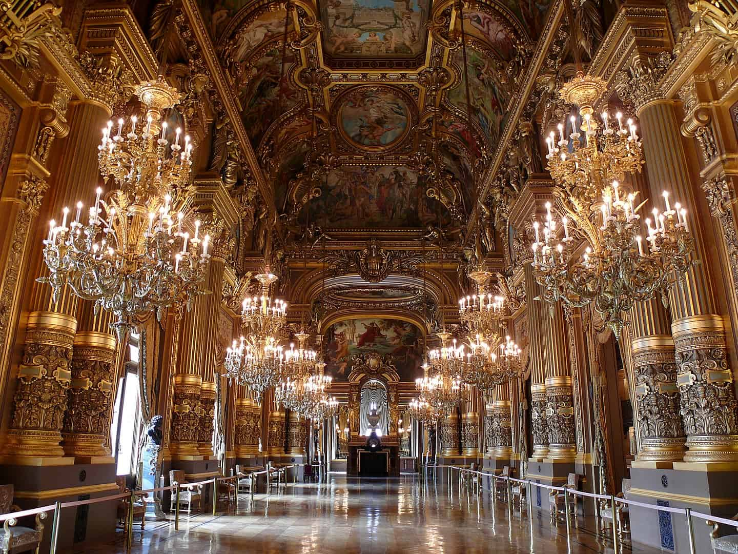 The Grand Foyer of the Opera de Paris' Palais Garnier.