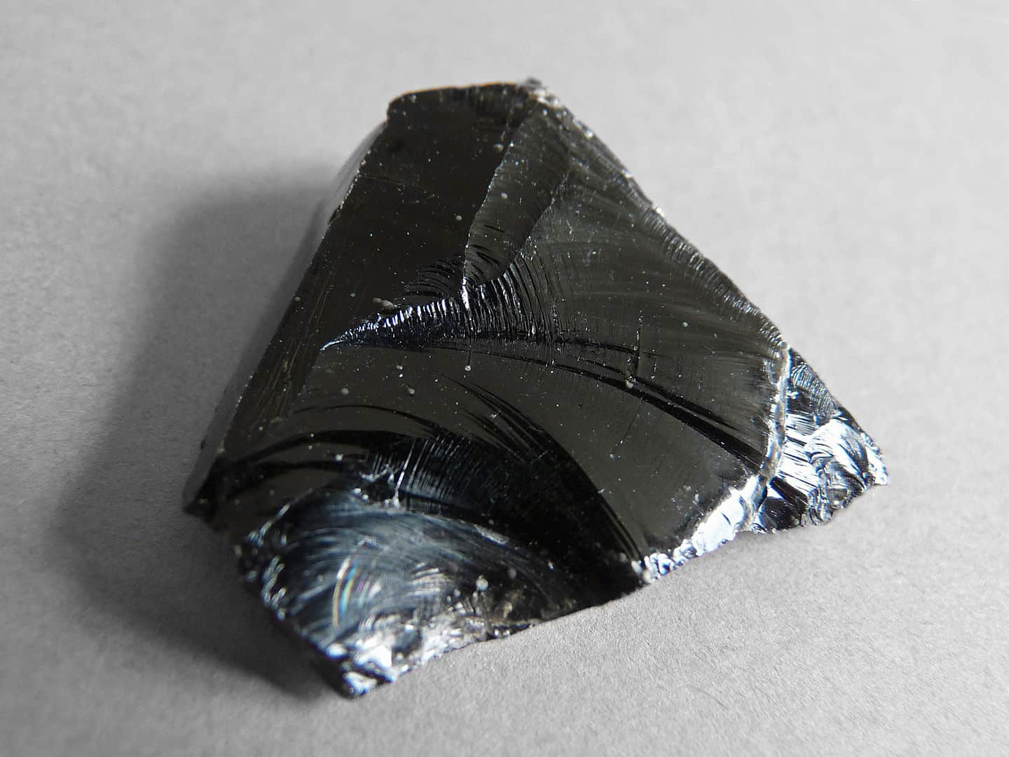 An unworked piece of obsidian.