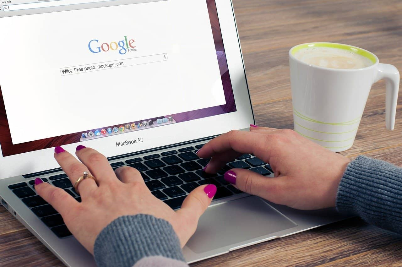 google, hands, laptop, mug