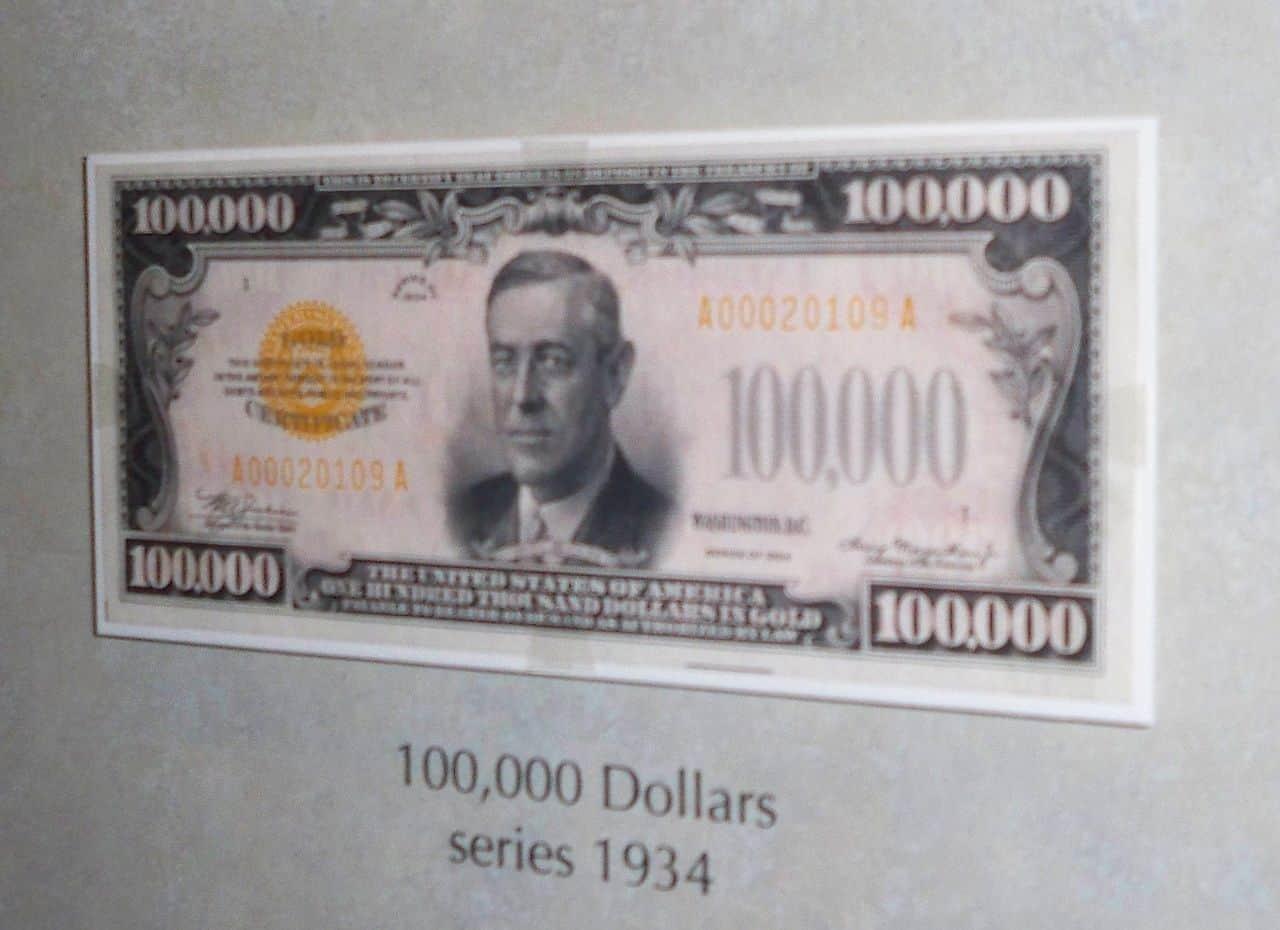 woodrow wilson on $100,000 bill