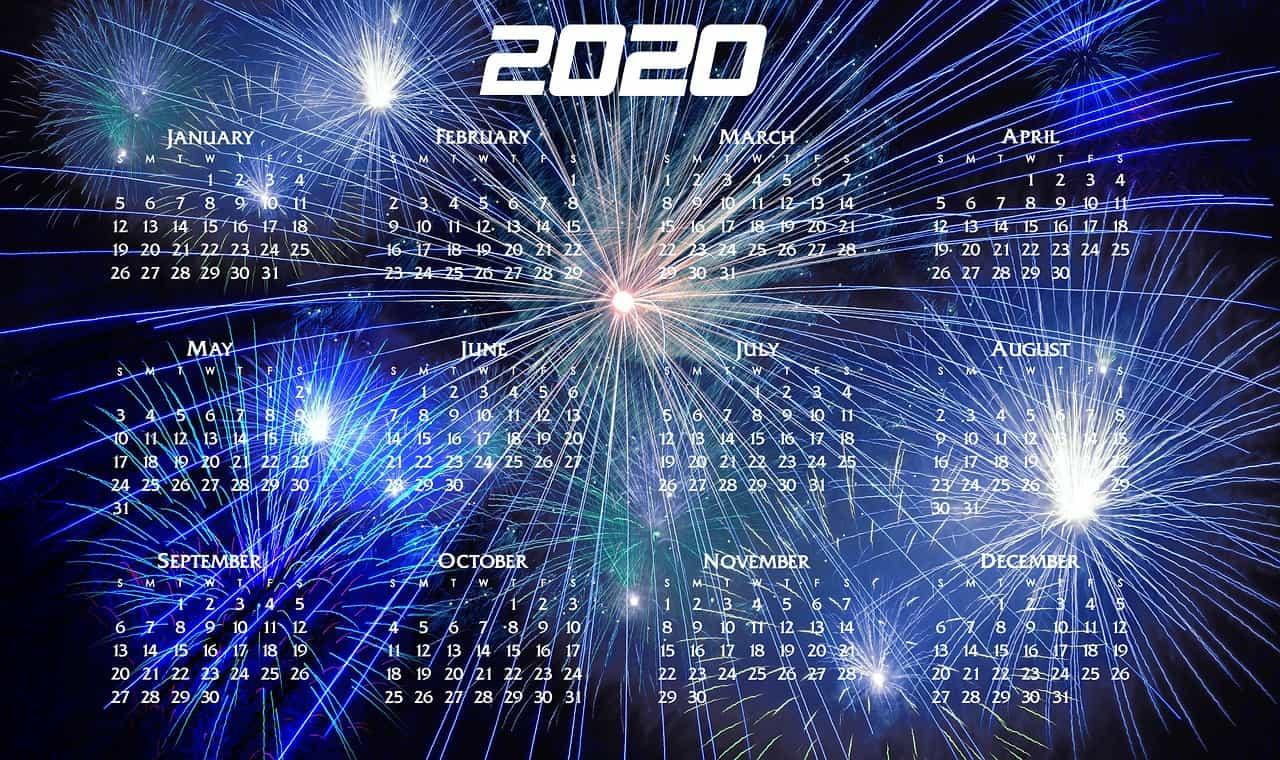 An example of a calendar for 2020.