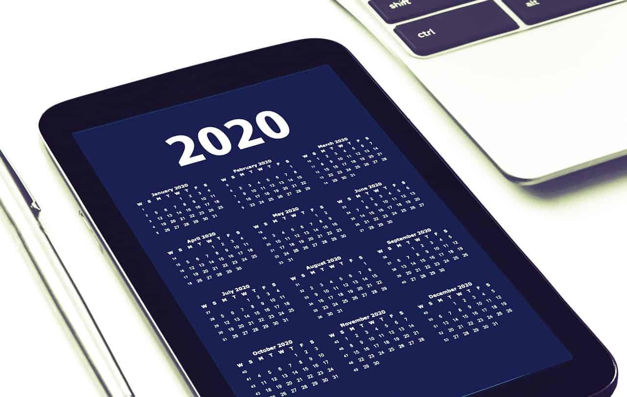 A simple calendar on a mobile device.