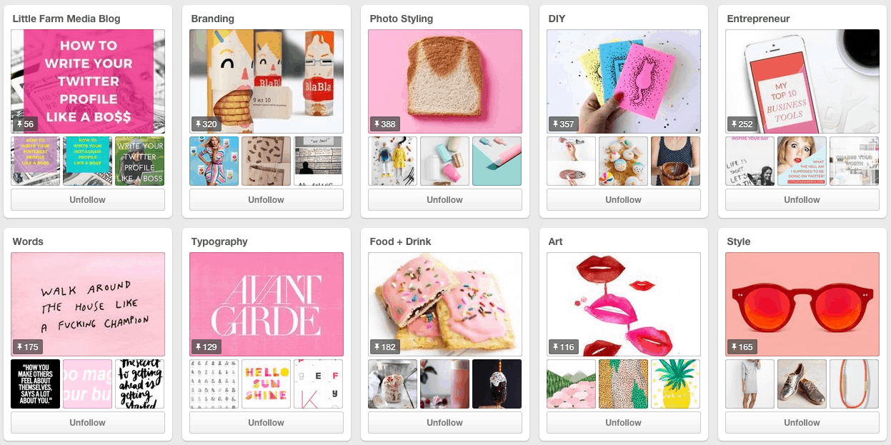 Pinterest boards examples