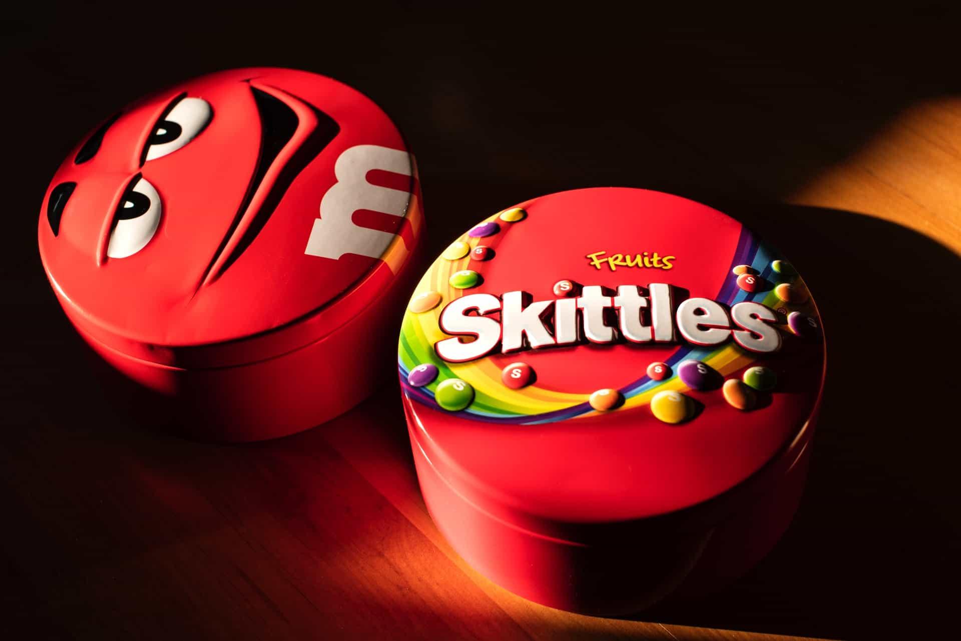 skittles, m&m's