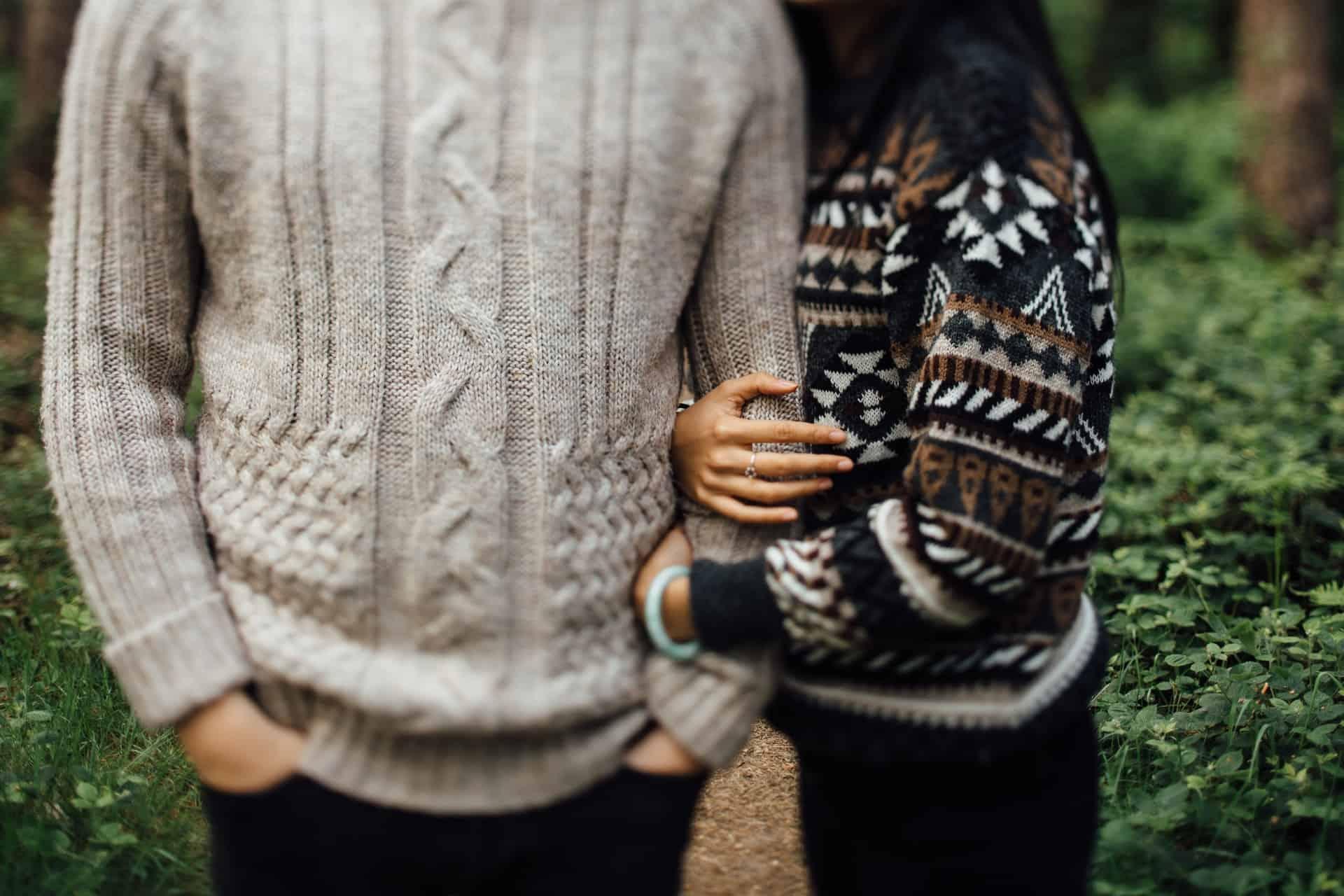 man, woman, sweater