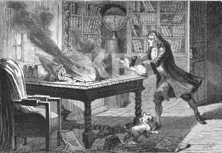 Isaac Newton Laboratory Fire, Isaac Newton Dog, Isaac Newton Alchemy